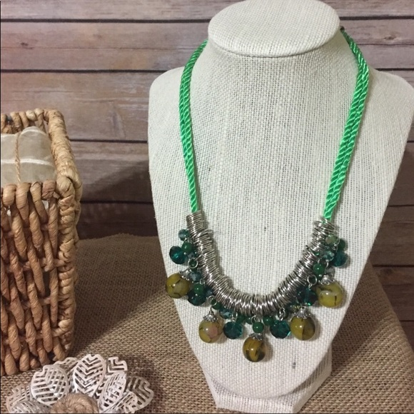 The Metal Daisy Jewelry - Green Glass Festival Necklace